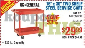 16x30 Red Steel Service Cart Coupon