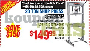 20-Ton Shop Press Coupon