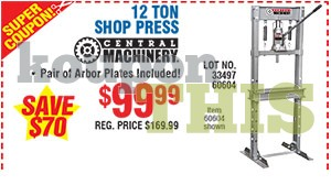 12-Ton Shop Press Coupon