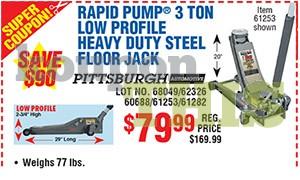 3-Ton Low Profile Steel Floor Jack Coupon