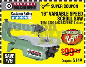 16-inch Variable Speed Scroll Saw Coupon