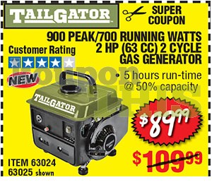 900W 2-HP Portable Gas Generator Coupon