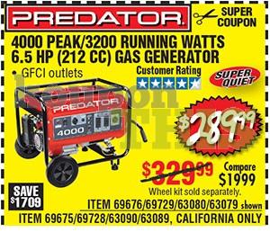 4000 Max Watts Generator Coupon