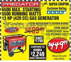 6500 Max Watts Generator Coupon
