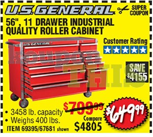 56-inch 11-Drawer Roller Cabinet Coupon