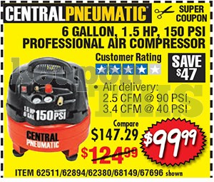 6-Gallon Oilless Air Compressor Coupon