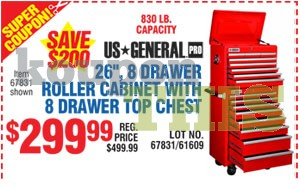 26-inch 8-Drawer Roller Cabinet Coupon