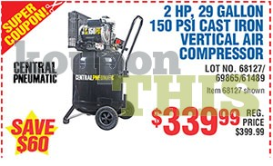 29-Gallon Vertical Air Compressor Coupon