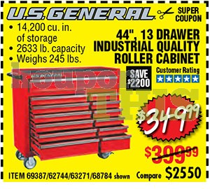 44-inch 13-Drawer Roller Tool Cabinet Coupon