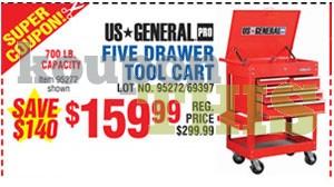 5-Drawer Tool Cart Coupon